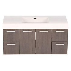 Amare 48-inch Vanity in Grey Oak with Acrylic-Resin Vanity Top in White and Integrated Sink