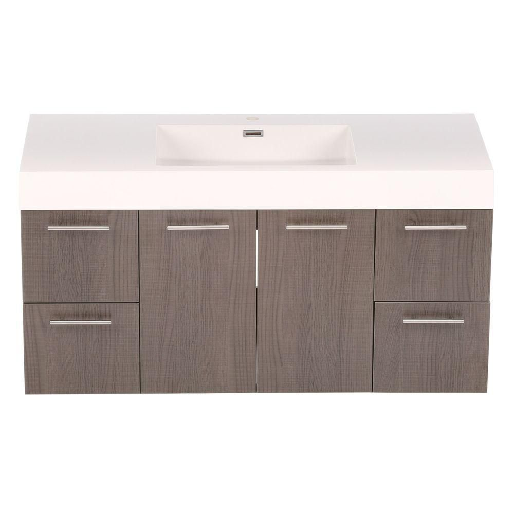 Amare 48-inch W Vanity in Grey Oak with Acrylic-Resin Top in White and Integrated Sink