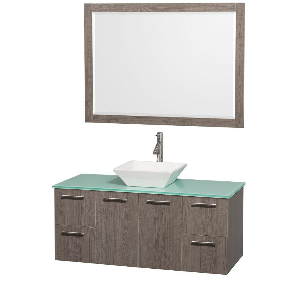 Amare 48-inch W Vanity in Grey Oak with Glass Top in Aqua and Porcelain Sink