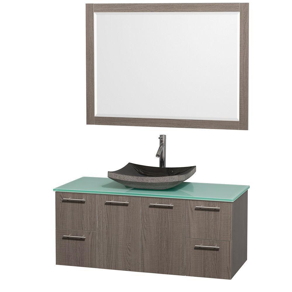 Amare 48-inch W Vanity in Grey Oak with Glass Top in Aqua and Black Granite Sink
