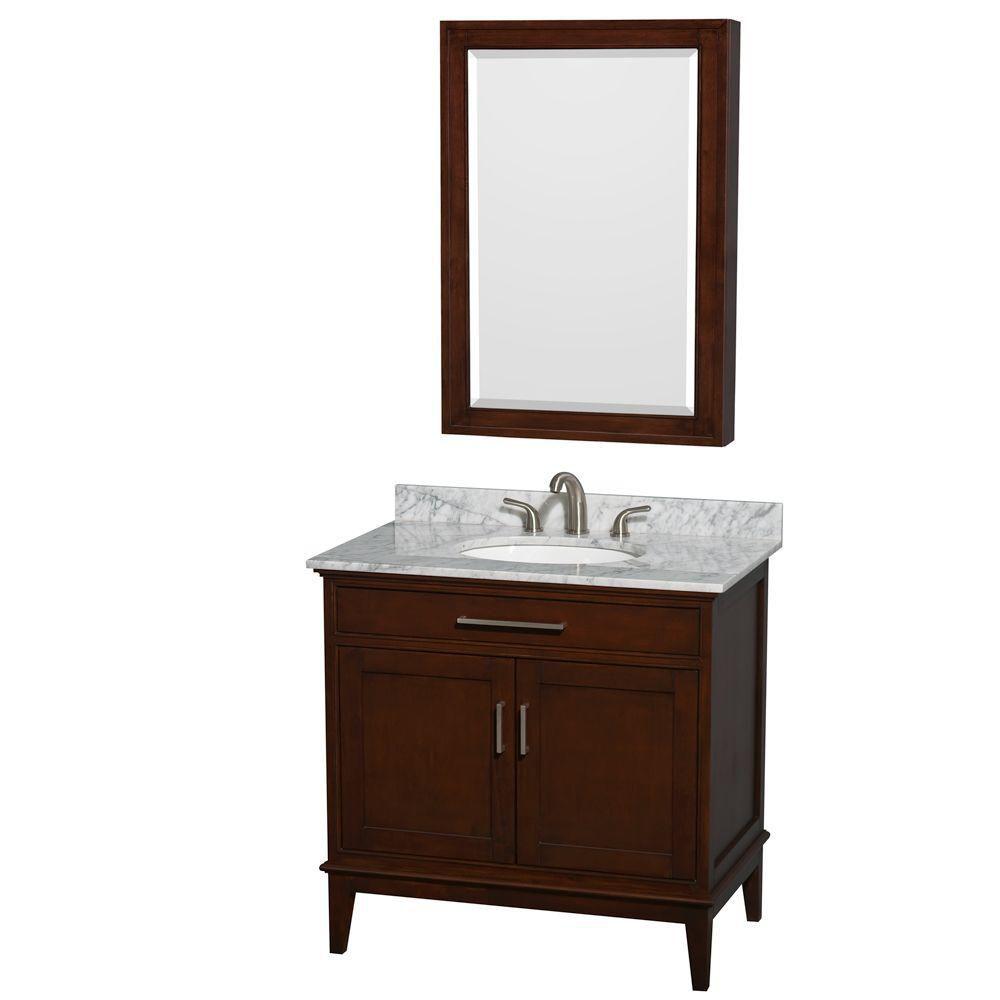 Hatton 36-inch W Vanity in Dark Chestnut with Marble Top, Sink and Medicine Cabinet
