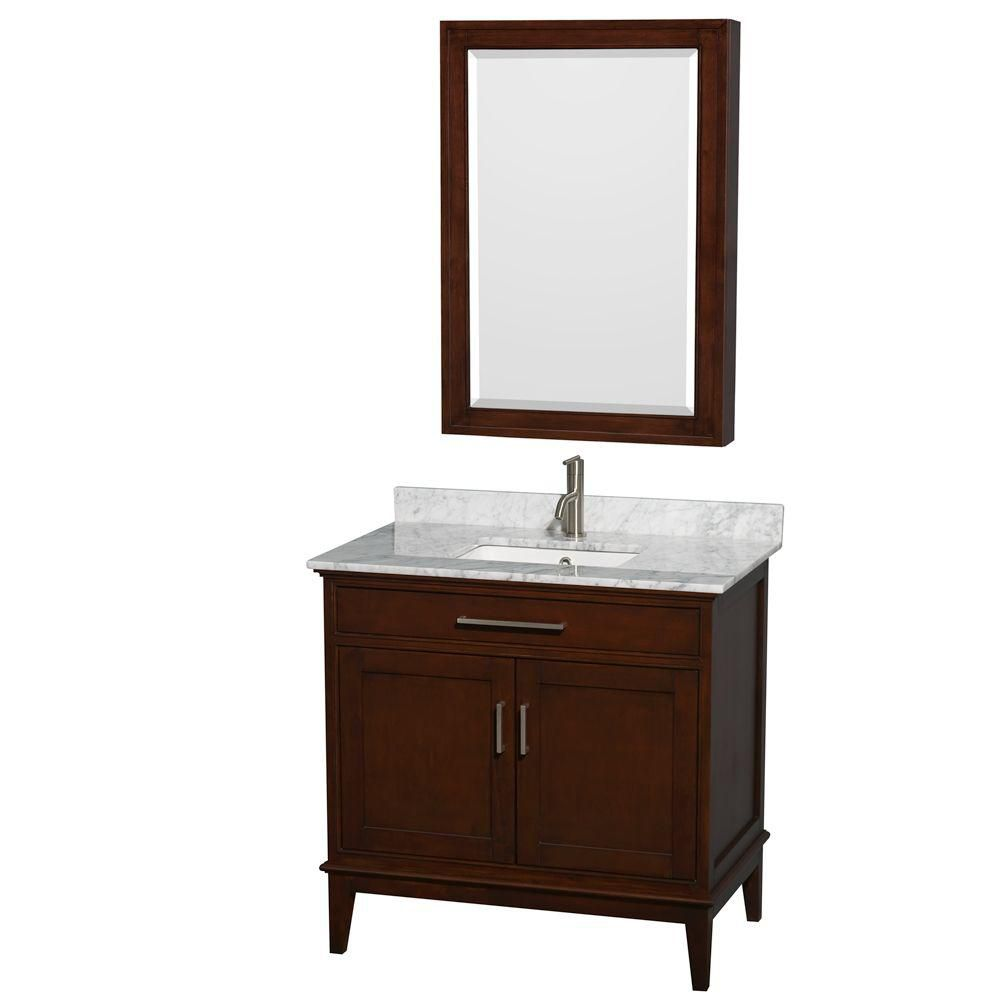 Hatton 36-inch W Vanity in Dark Chestnut with Marble Top, Square Sink and Medicine Cabinet
