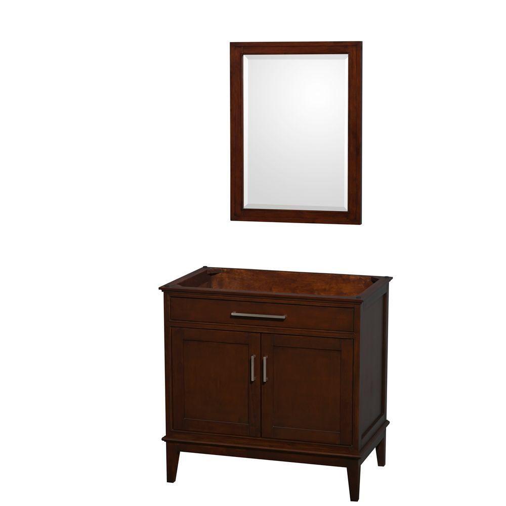 Hatton 35-Inch  Vanity Cabinet with Mirror in Dark Chestnut