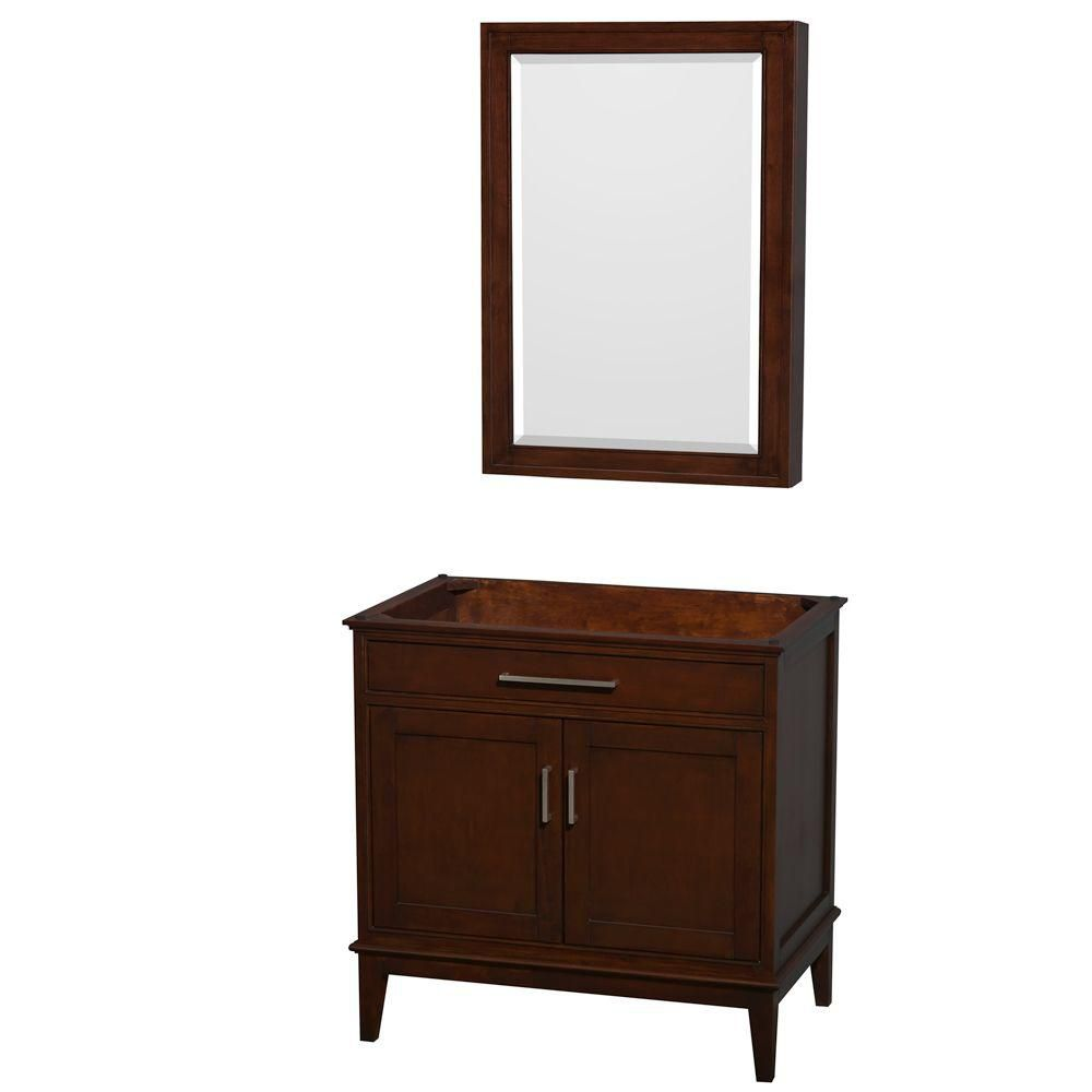 Hatton 35-Inch  Vanity Cabinet with Mirror Medicine Cabinet in Dark Chestnut