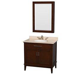Wyndham Collection Hatton 36-inch W 2-Door Freestanding Vanity in Brown With Marble Top in Beige Tan With Mirror