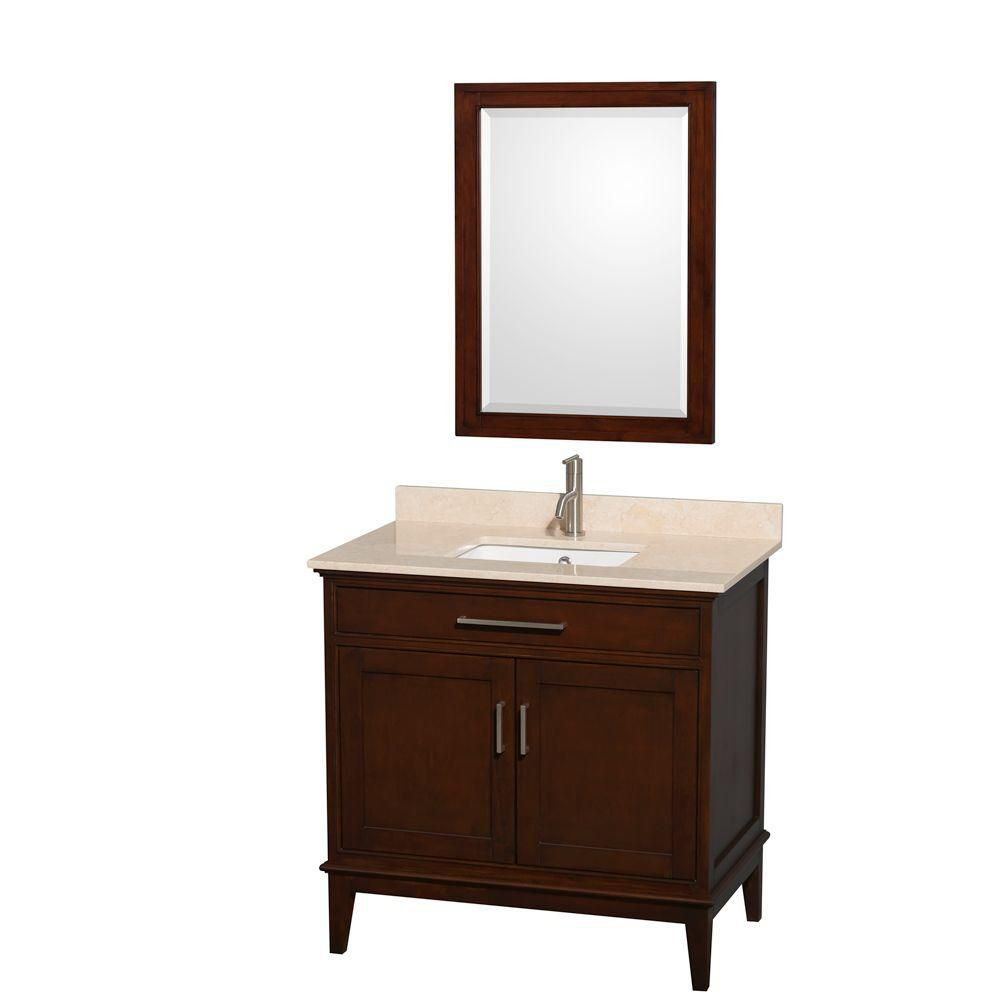 Hatton 36-inch W Vanity in Dark Chestnut with Marble Top in Ivory, Square Sink and Mirror