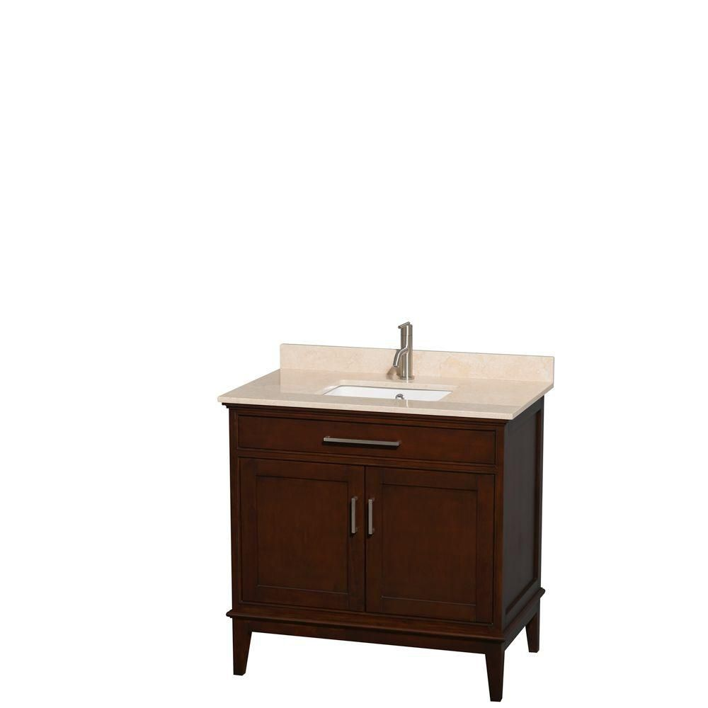 Hatton 36-inch W Vanity in Dark Chestnut with Marble Top in Ivory and Square Sink