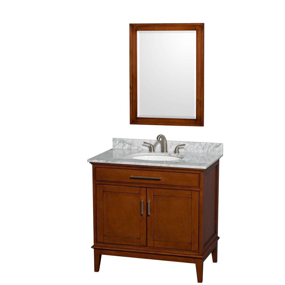 Hatton 36-inch W Vanity in Light Chestnut with Marble Top in Carrara White, Sink and Mirror