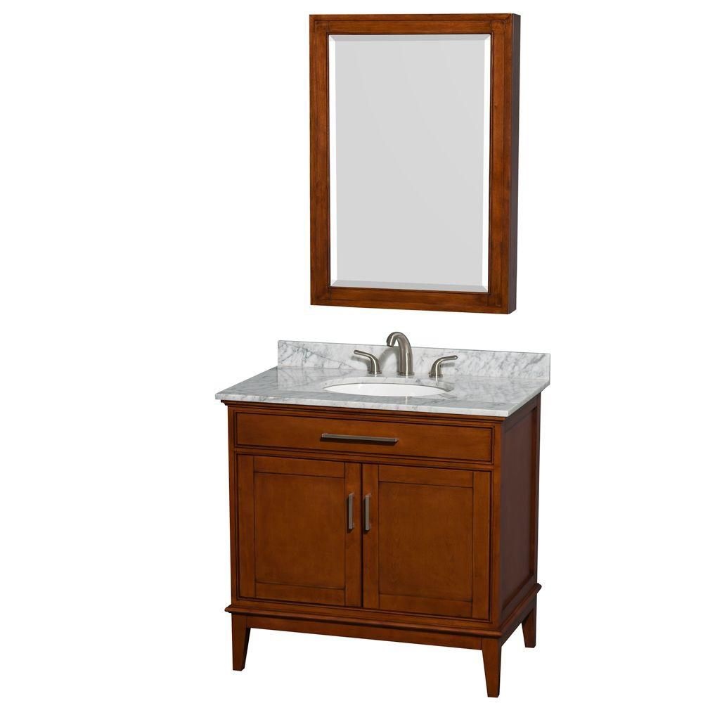 Hatton 36-inch W Vanity in Light Chestnut with Marble Top, Sink and Medicine Cabinet