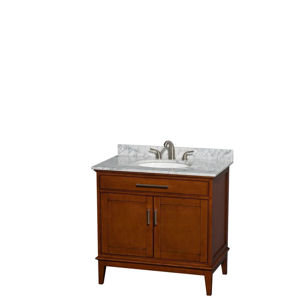 Hatton 36-inch W Vanity in Light Chestnut with Marble Top in Carrara White and Oval Sink