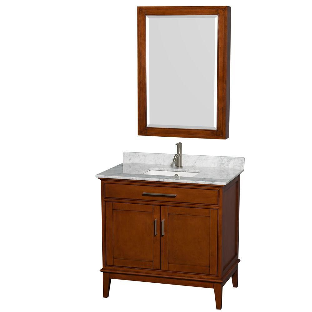 Hatton 36-inch W Vanity in Light Chestnut with Marble Top, Square Sink and Medicine Cabinet