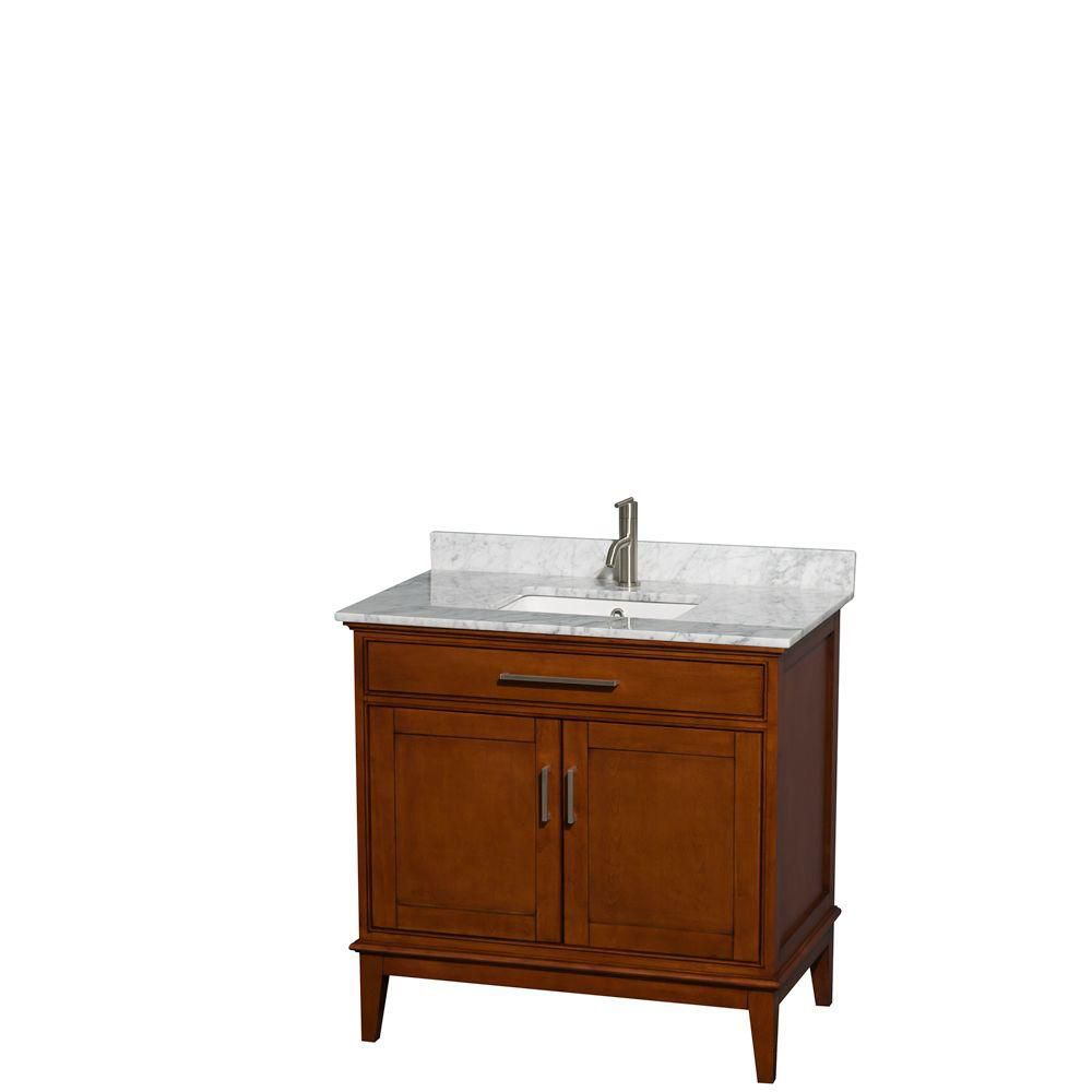 Wyndham Collection Hatton 36-inch W 2-Door Freestanding Vanity in Brown With Marble Top in White