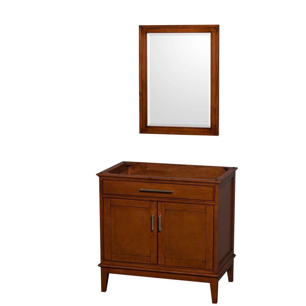 Hatton 35-Inch  Vanity Cabinet with Mirror in Light Chestnut