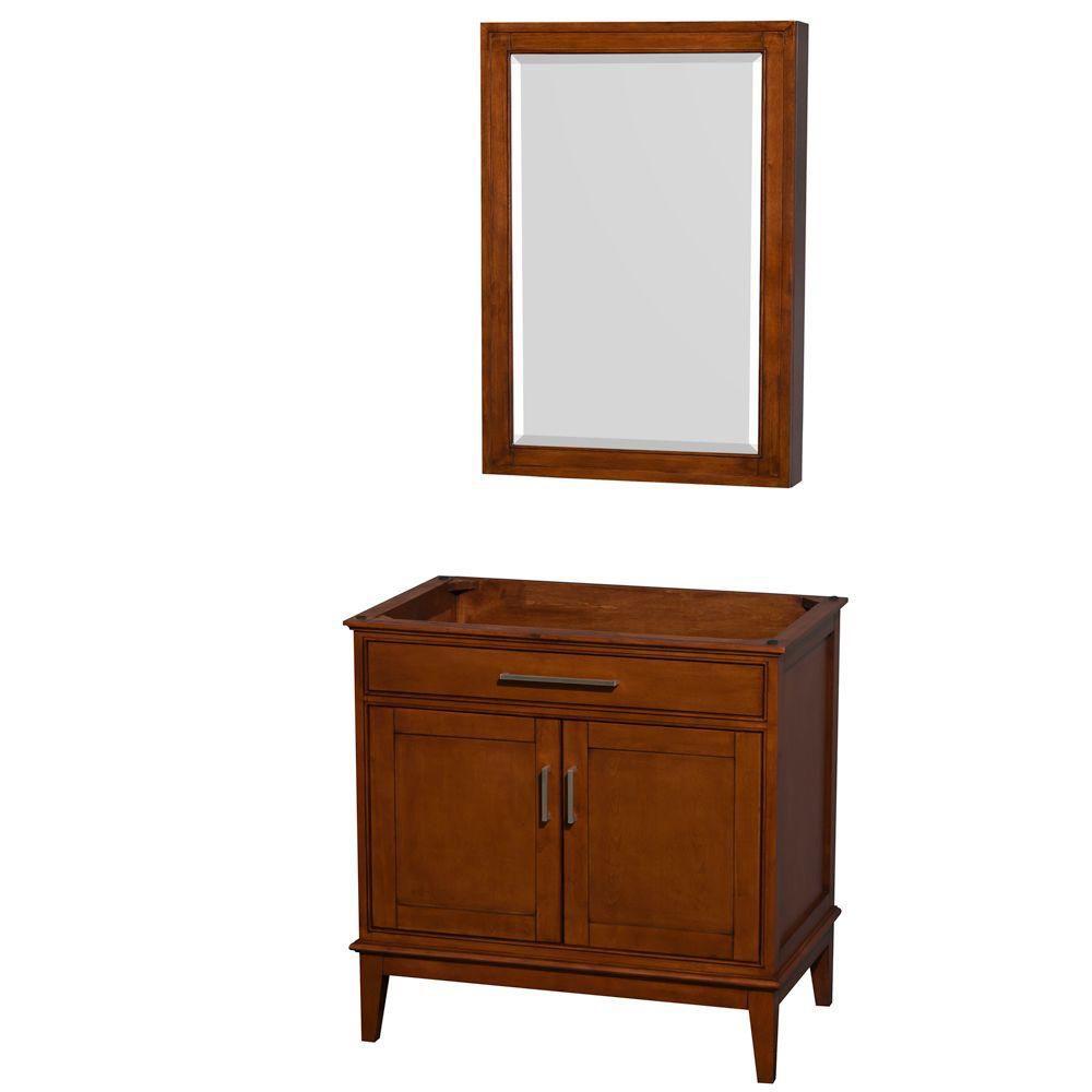 Hatton de 35 po Meuble avec armoire à pharmacie en miroir en châtain clair