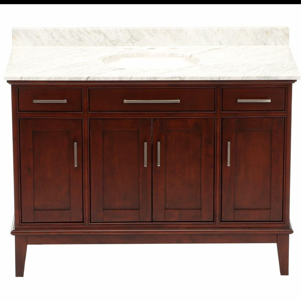 Hatton 48-inch W Vanity in Light Chestnut with Marble Top, Sink and 24-inch Mirror