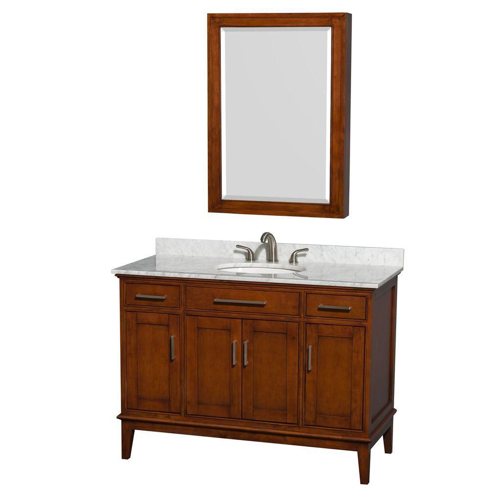 Hatton 48-inch W Vanity in Light Chestnut with Marble Top, Sink and Medicine Cabinet