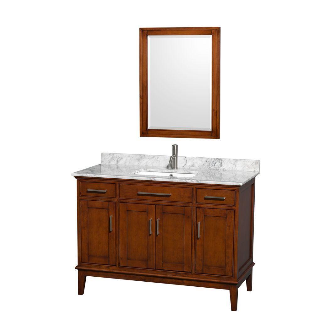 Hatton 48 po Meuble châtain clair et revêtement en marbre blanc Carrare, évier carré et miroir