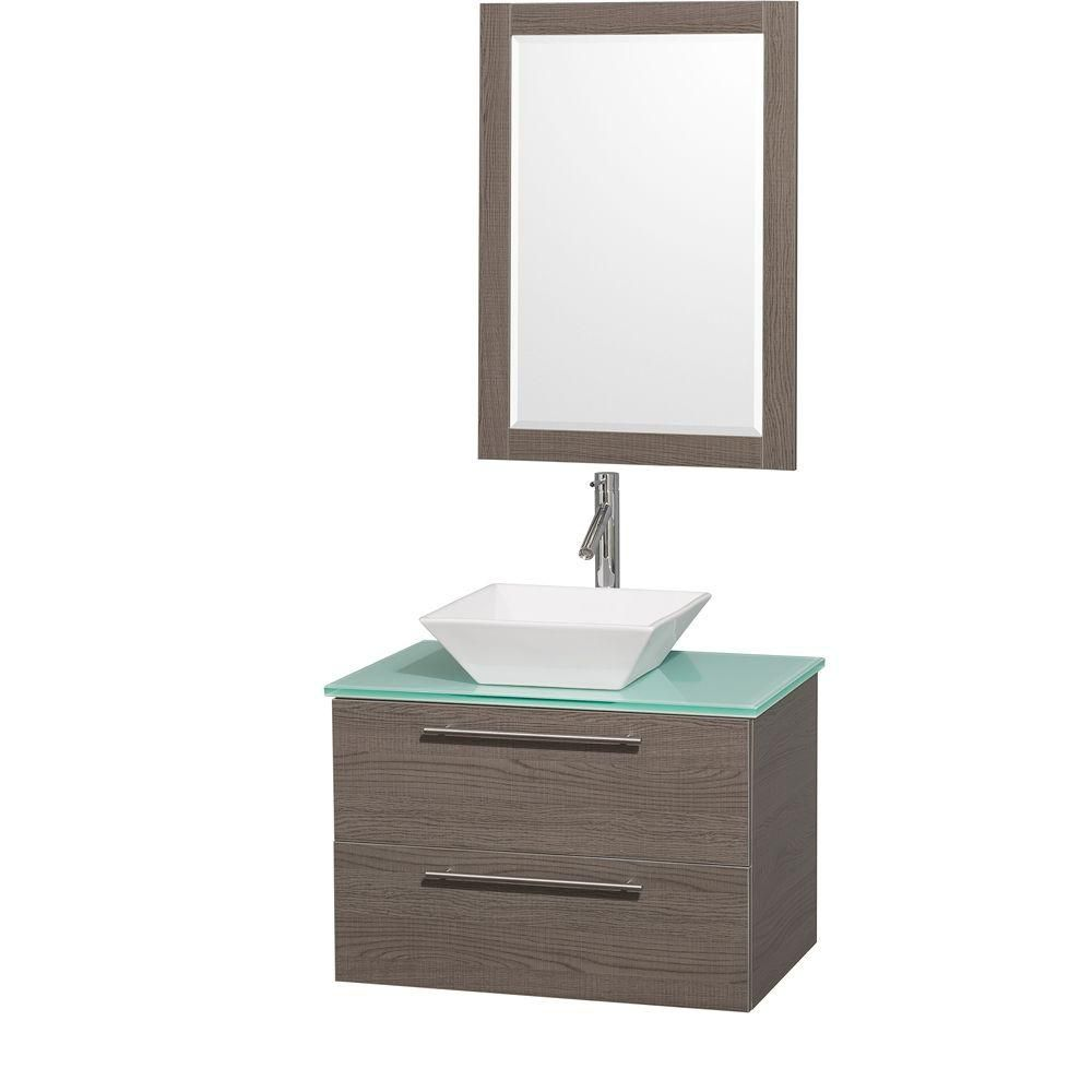 Amare 30-inch W Vanity in Grey Oak with Glass Top in Aqua and White Porcelain Sink