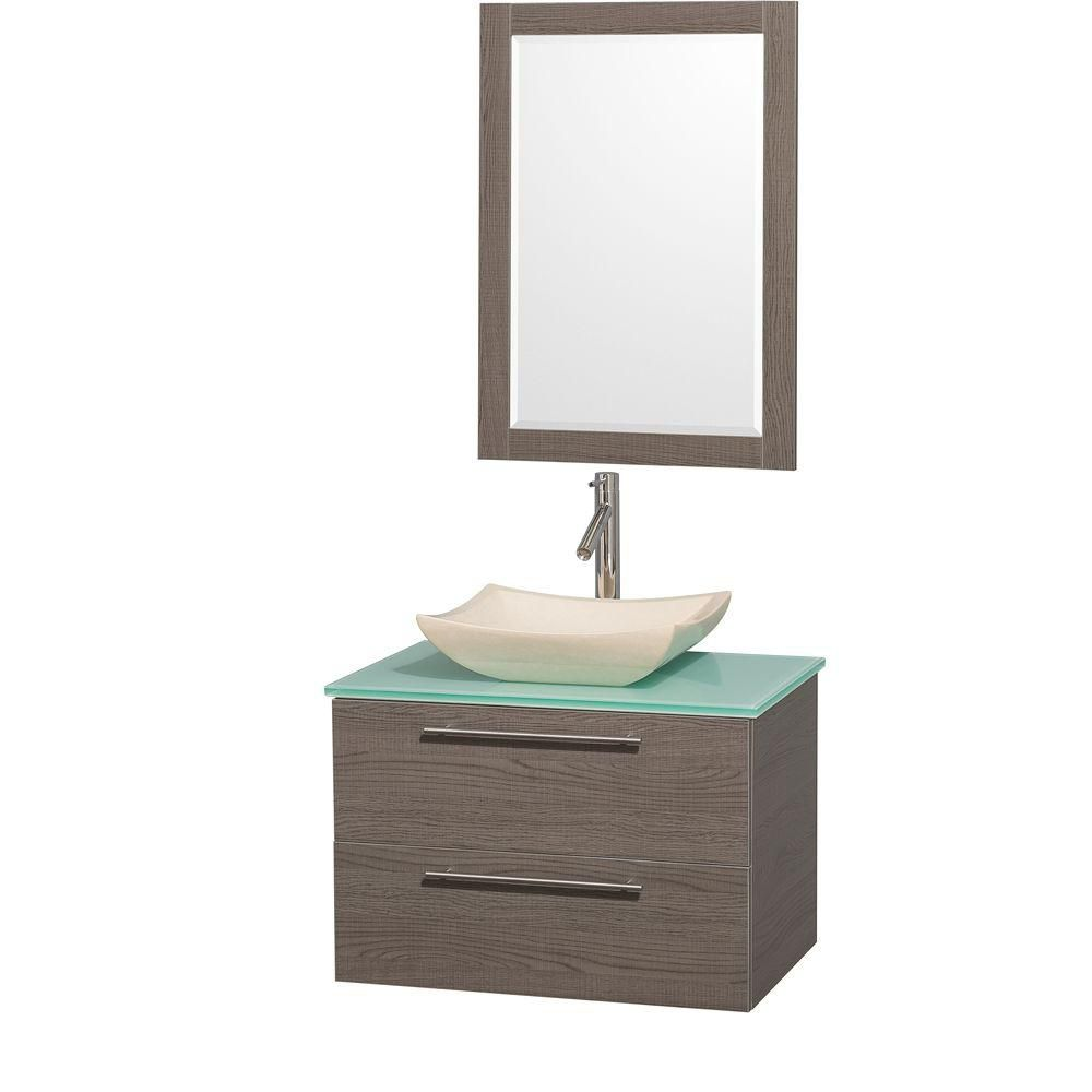 Amare 30-inch W 2-Drawer Wall Mounted Vanity in Grey With Top in Green With Mirror
