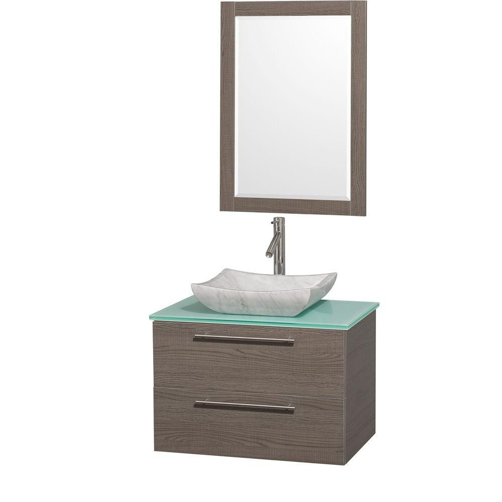 Amare 30-inch W Vanity in Grey Oak with Glass Top in Aqua and Carrara Marble Sink