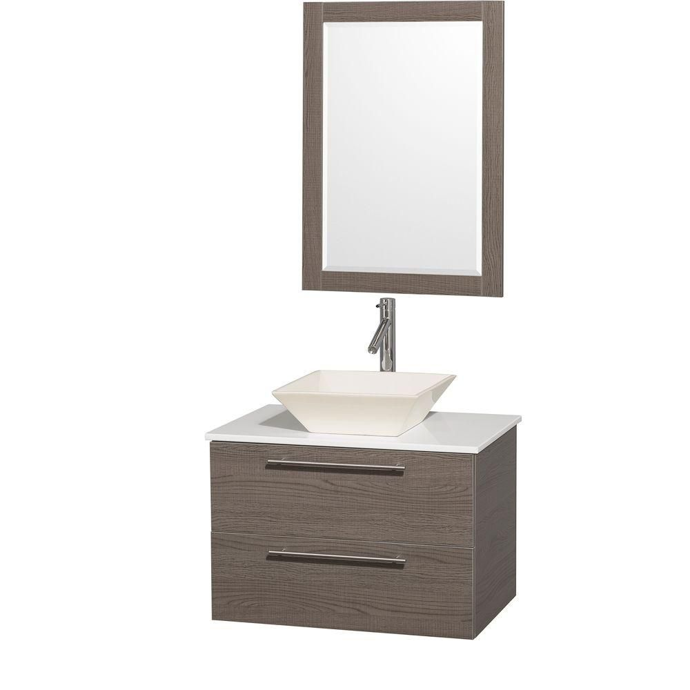 Amare 30-inch W Vanity in Grey Oak with Stone Top in White and Bone Porcelain Sink