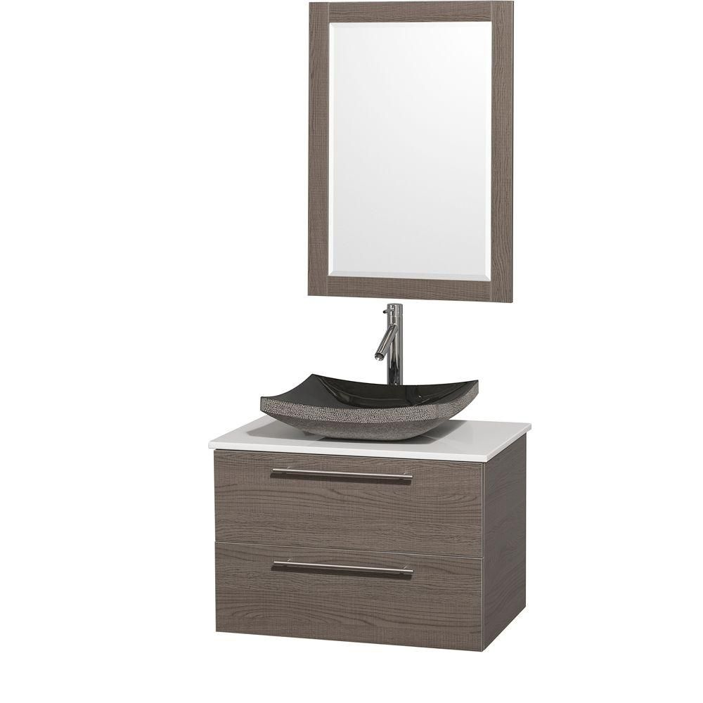Amare 30-inch W Vanity in Grey Oak with Stone Top in White and Black Granite Sink