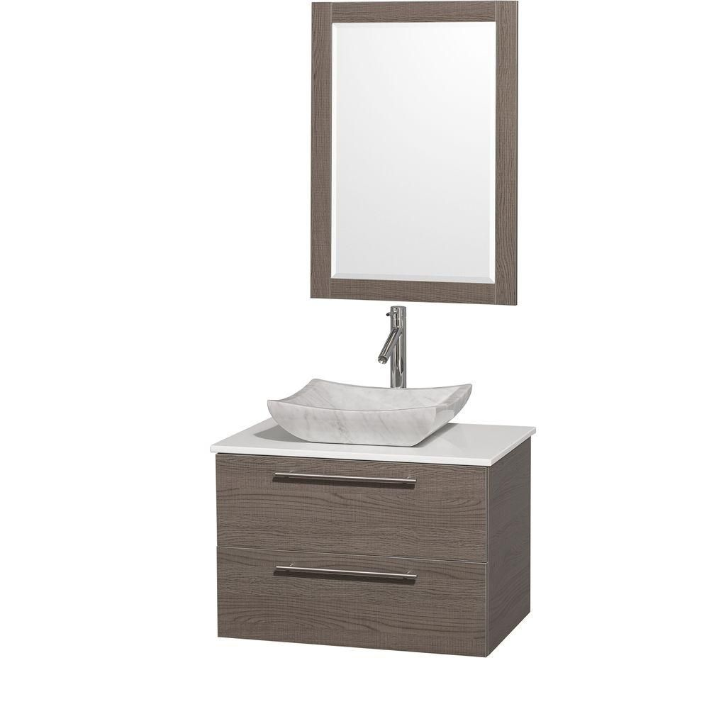 Amare 30-inch W Vanity in Grey Oak with Stone Top in White and Carrara Marble Sink