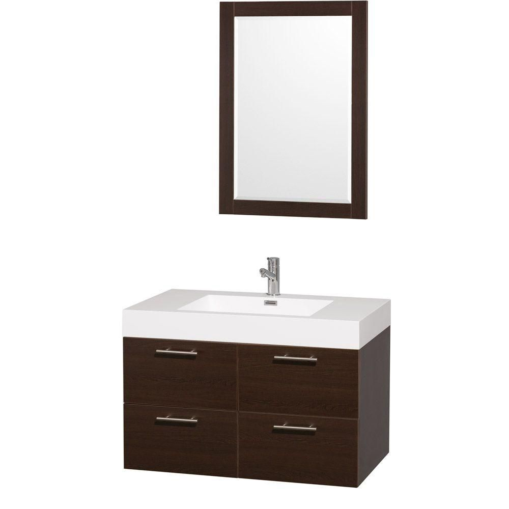 Amare 36-inch W Vanity in Espresso with Acrylic-Resin Top in White and Integrated Sink