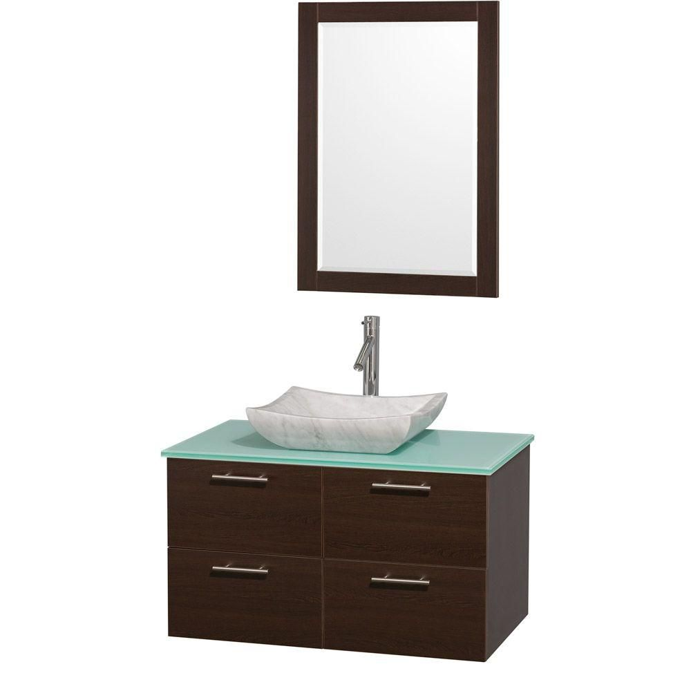 Amare 36-inch W Vanity in Espresso with Glass Top and Carrara Marble Sink