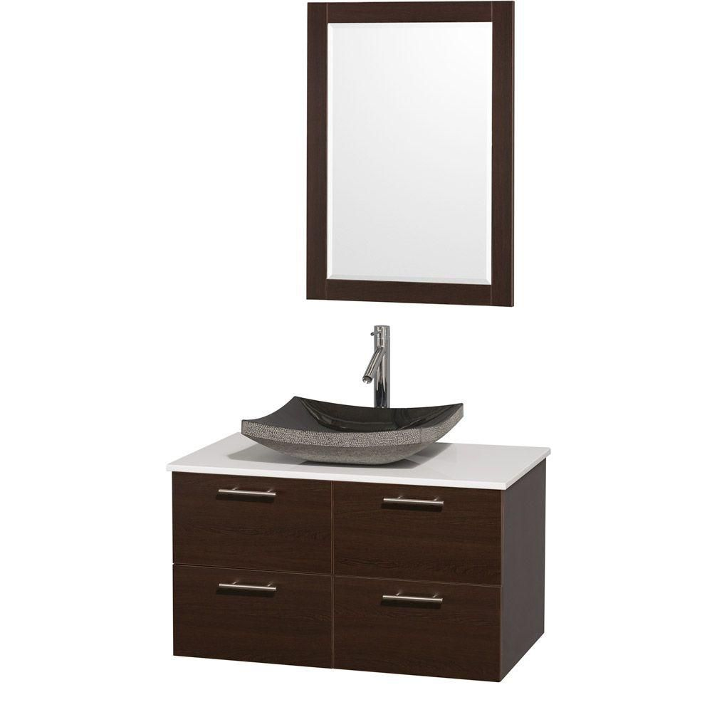 Amare 36-inch W Vanity in Espresso with Stone Top in White and Granite Sink