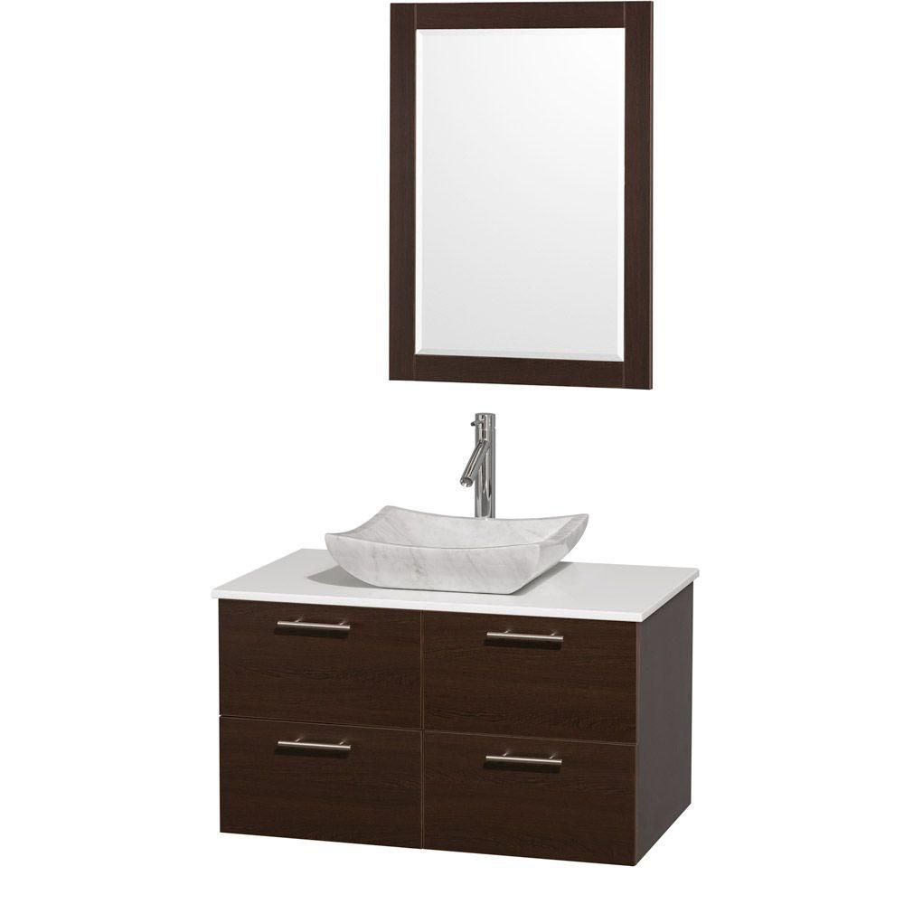 Wyndham Collection Amare 36-inch W 2-Drawer 2-Door Wall Mounted Vanity in Brown With Artificial Stone Top in White