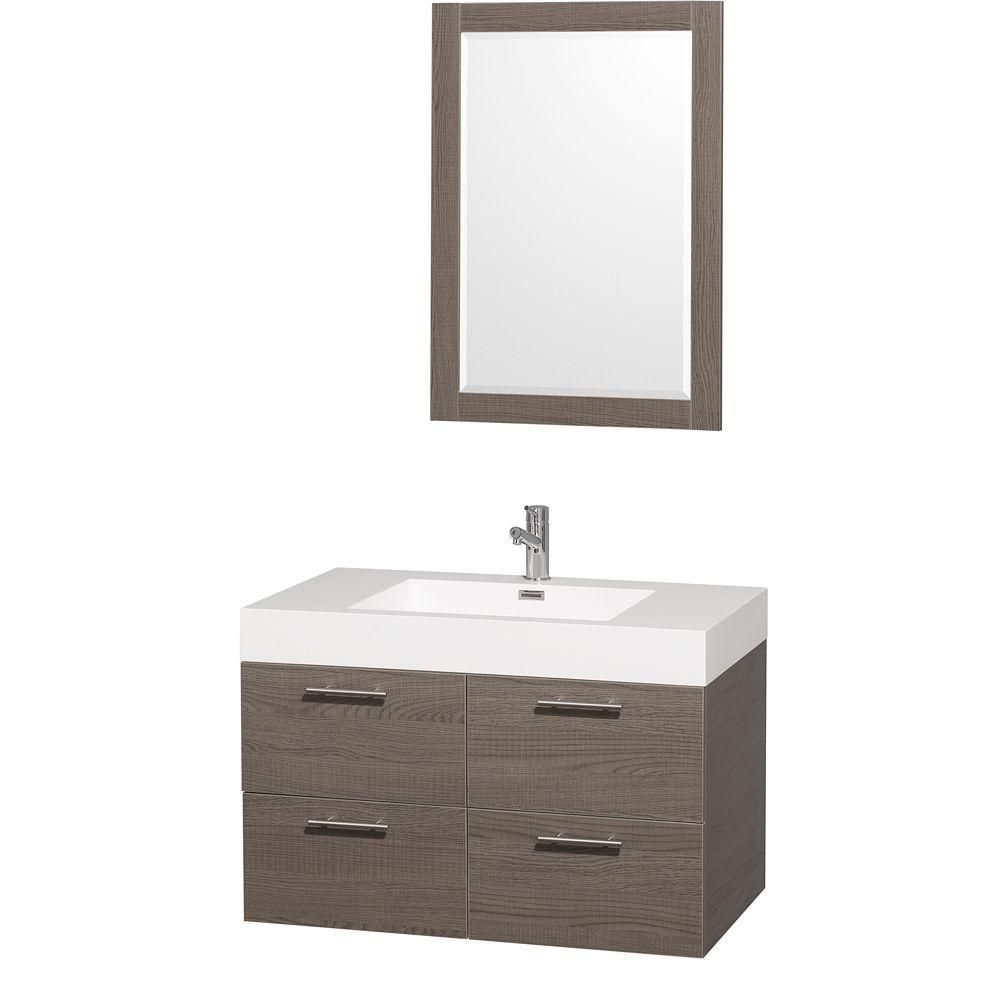 Amare 36-inch W Vanity in Grey Oak with Acrylic-Resin Top in White and Integrated Sink