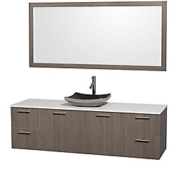 Wyndham Collection Amare 72-inch W 4-Drawer 2-Door Wall Mounted Vanity in Grey With Artificial Stone Top in White