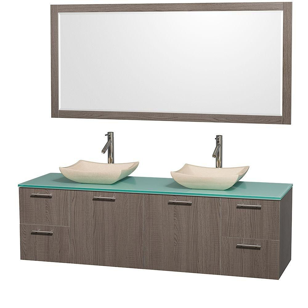Amare 72-inch W Double Vanity in Grey Oak with Stone Top in White and Marble Sinks