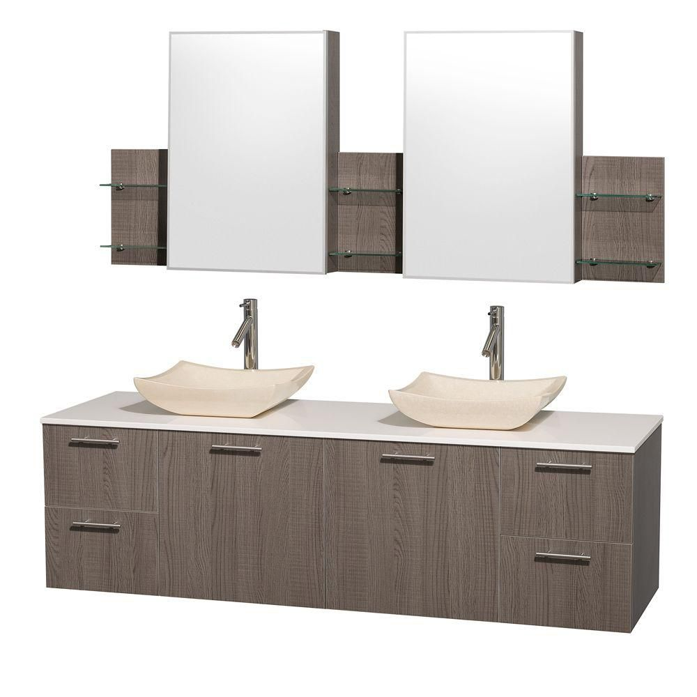 Amare 72-inch W Double Vanity in Grey Oak with Stone Top in White and Ivory Marble Sinks