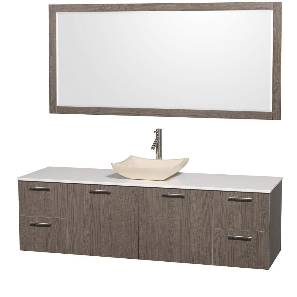 Amare 72-inch W 4-Drawer 2-Door Wall Mounted Vanity in Grey With Artificial Stone Top in White