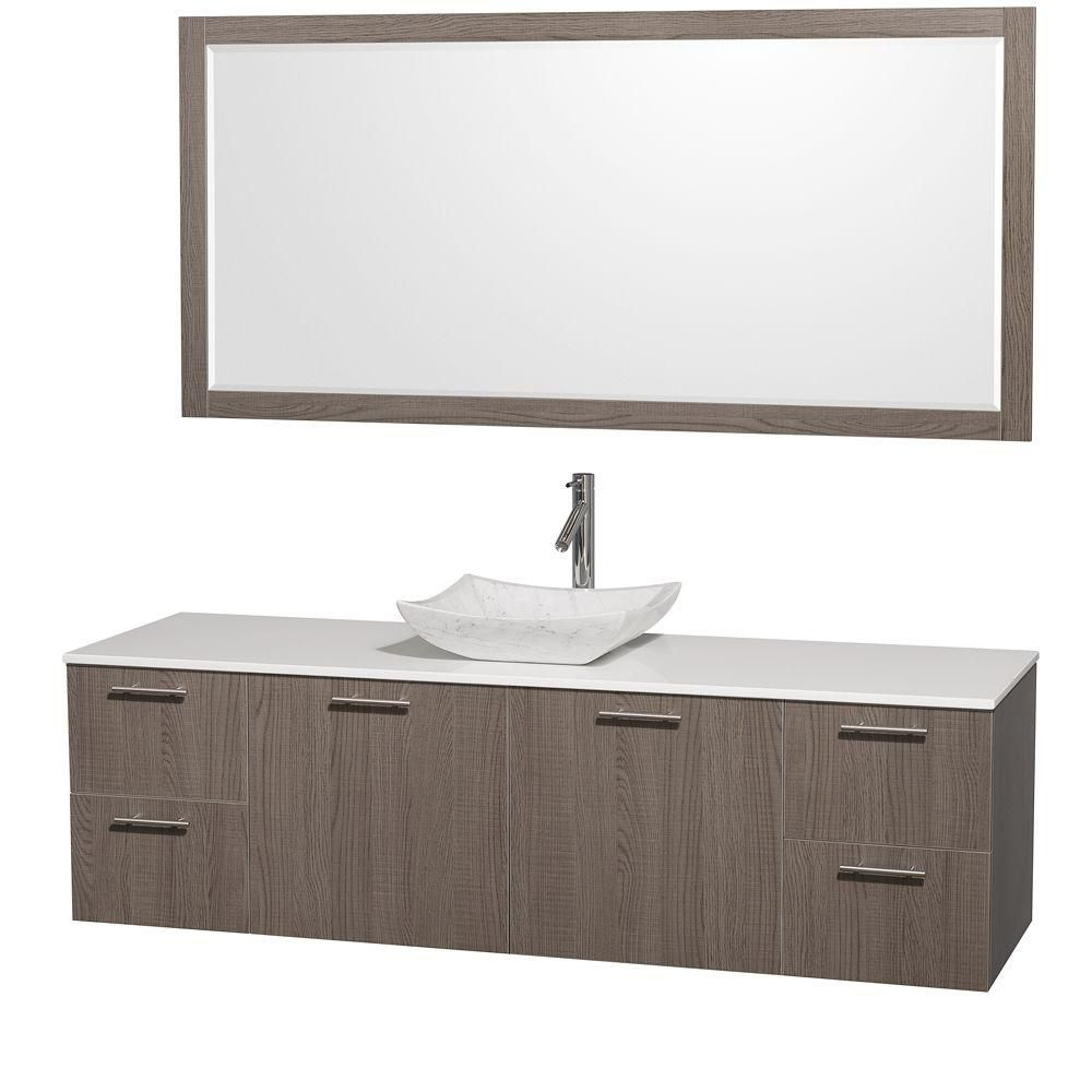 Amare 72-inch W Vanity in Grey Oak with Stone Top in White and Carrara Marble Sink