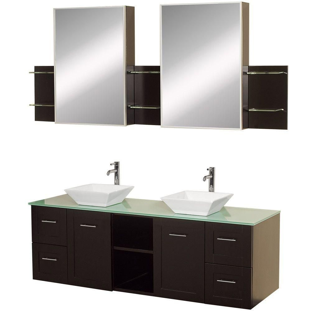 Avara 60-inch Vanity in Espresso with Double Basin Glass Vanity Top in Aqua and Medicine Cabinets