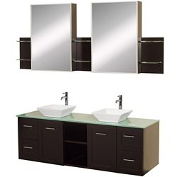 Wyndham Collection Avara 60-inch W 4-Drawer 2-Door Wall Mounted Vanity in Brown With Top in Green, Double Basins