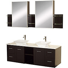 Avara 60-inch Vanity in Espresso with Double Basin Stone Vanity Top in White and Medicine Cabinets