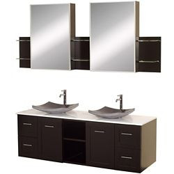 Wyndham Collection Avara 60-inch W 4-Drawer 2-Door Vanity in Brown With Artificial Stone Top in White, Double Basins