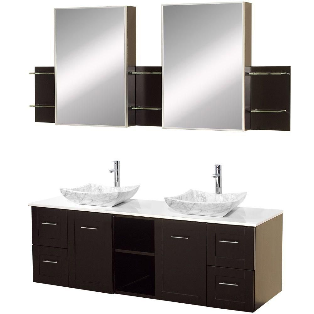 Avara 60-inch W Vanity in Espresso with Stone Top in White and Medicine Cabinets