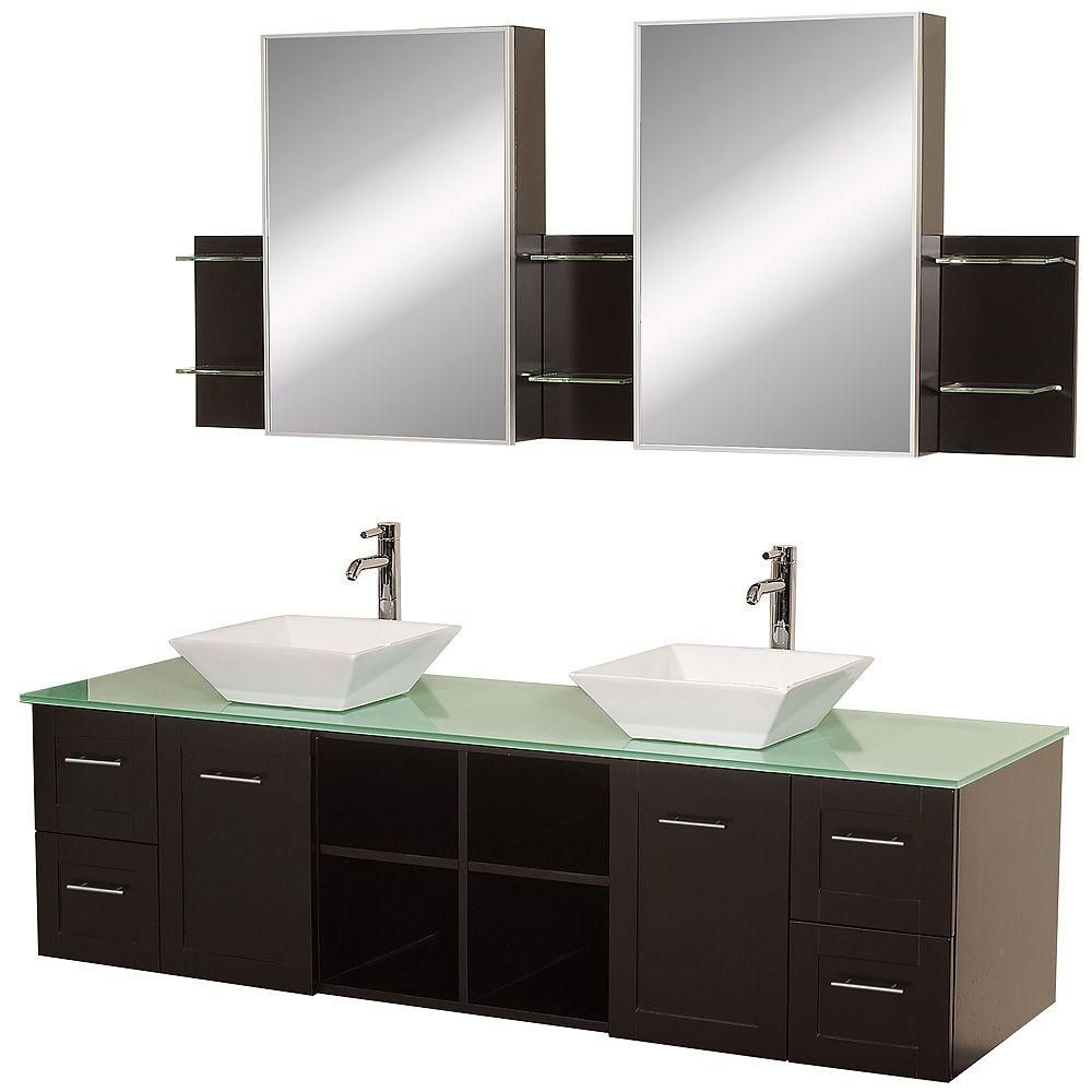 Avara 72-inch W 4-Drawer 2-Door Wall Mounted Vanity in Brown With Top in Green, Double Basins