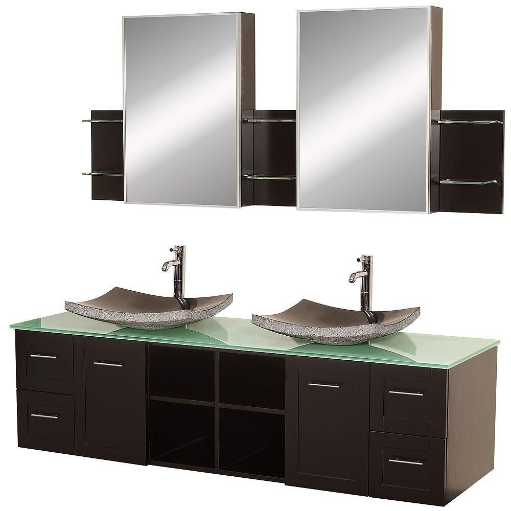 Avara 72-inch W Vanity in Espresso with Glass Top, Black Basins and Medicine Cabinets