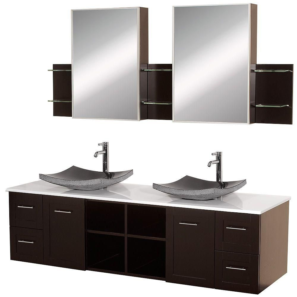 Avara 72-inch W Vanity in Espresso with Stone Top in White and Medicine Cabinets