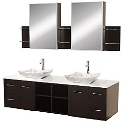 Wyndham Collection Avara 72-inch W 4-Drawer 2-Door Vanity in Brown With Artificial Stone Top in White, Double Basins