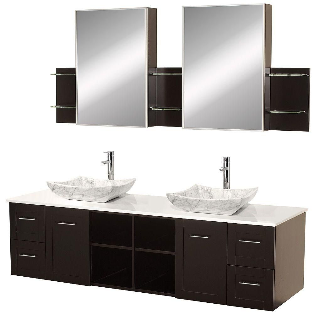 Avara 72-inch W 4-Drawer 2-Door Vanity in Brown With Artificial Stone Top in White, Double Basins