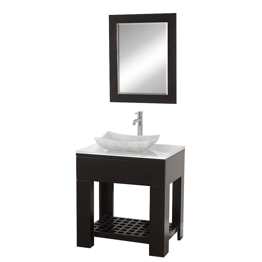 Zen 30-inch W Vanity in Espresso with Stone Top in White and Mirror