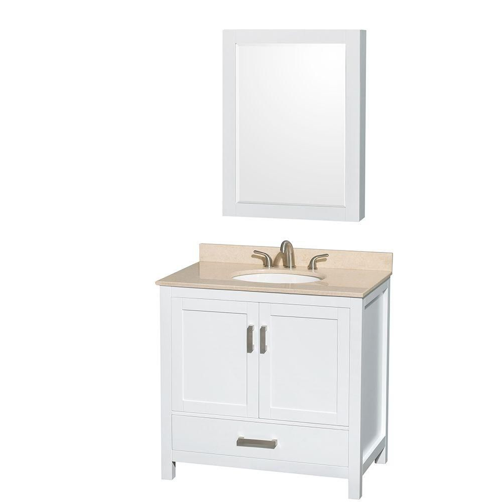 Sheffield 36-inch W Vanity in White with Marble Top in Ivory and Medicine Cabinet