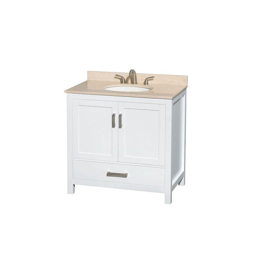 Sheffield 36-inch W Vanity in White with Marble Top in Ivory